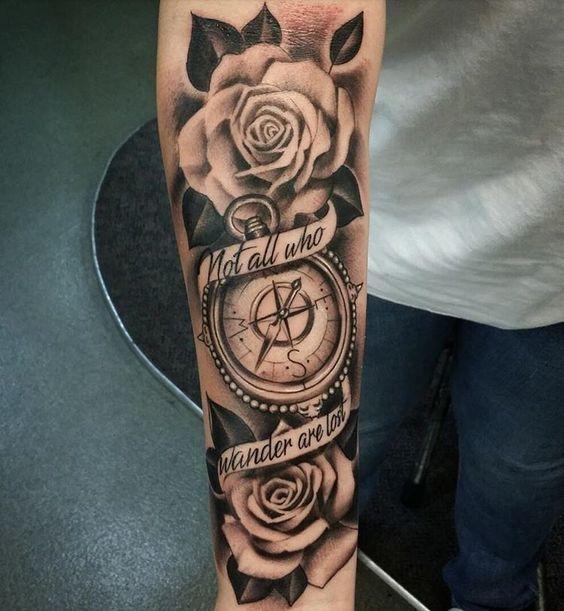 Tatuajes De Brujulas Tatuaje Hombre Muneca Tatuaje Reloj Y Rosa Tatuajes De Rosas Para Hombres