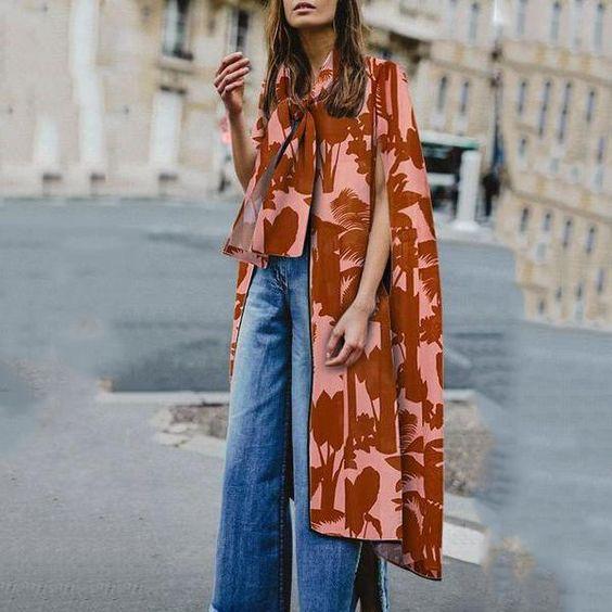 Red Printed Loose Sleeveless Shawl – W I K I