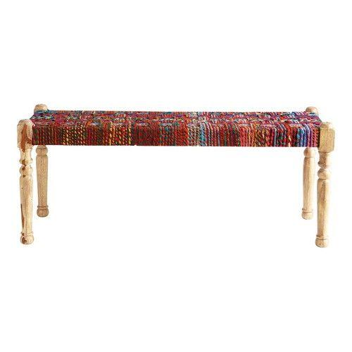 Banco indio de acacia y saris indio de colores An. 122 cm