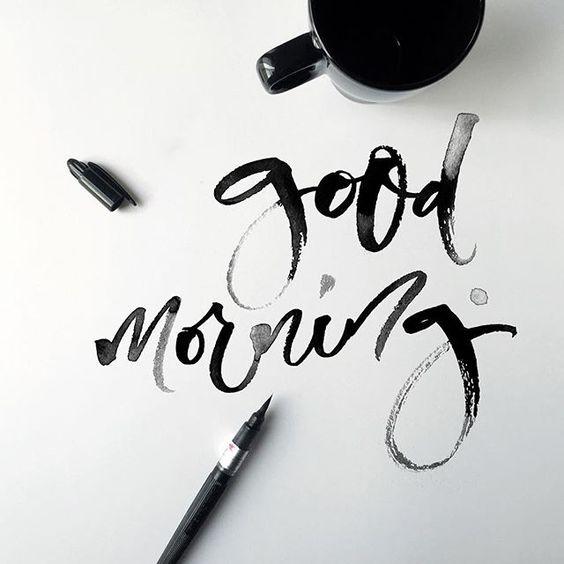 Доброго утра и плодотворного дня! Каллиграфическая зарядка сделана, на очереди кофе! А как начинается ваше утро?…: