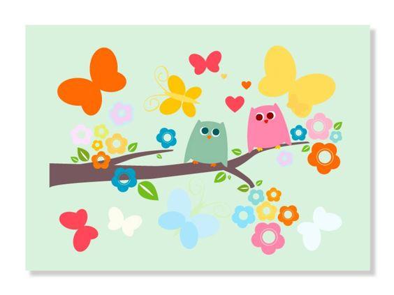 Uilen vlinder kinderkamer schilderij kamer nova pinterest - Babykamer schilderij idee ...