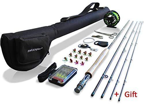 Netangler Fly Fishing Rod And Reel Combo 4 Piece Fly Fishing Rod 5wt Aluminum Fly Reel Complete Starter Full Fly Fishing Rods Fishing Rods And Reels Fly Reels