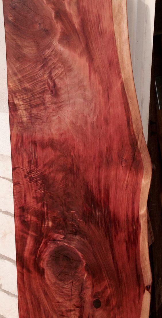Live edge - cedar wood slab - close up of sofa table