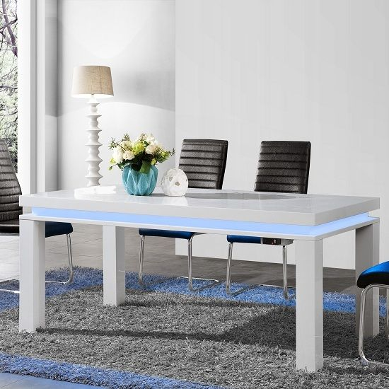Lenovo Dining Table In White High Gloss With Led Lights Finish Impressive White Gloss Dining Room Table Decorating Design