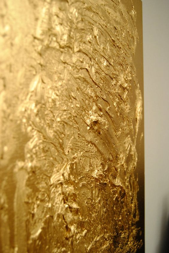 Textured gold painting thick paints then spray paint with for Gold paintings on canvas