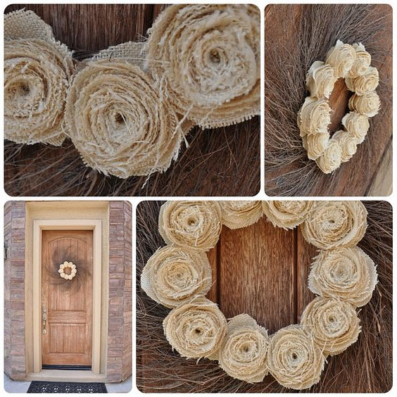 Burlap, grapevine wreath, and hot glue.  Simple, yet makes a statement on the door!