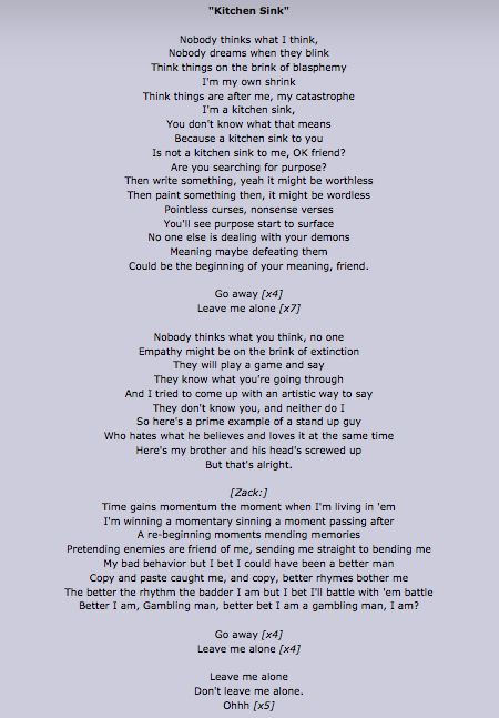 Kitchen sink lyrics i love these lyrics twenty one for Kitchen sink lyrics