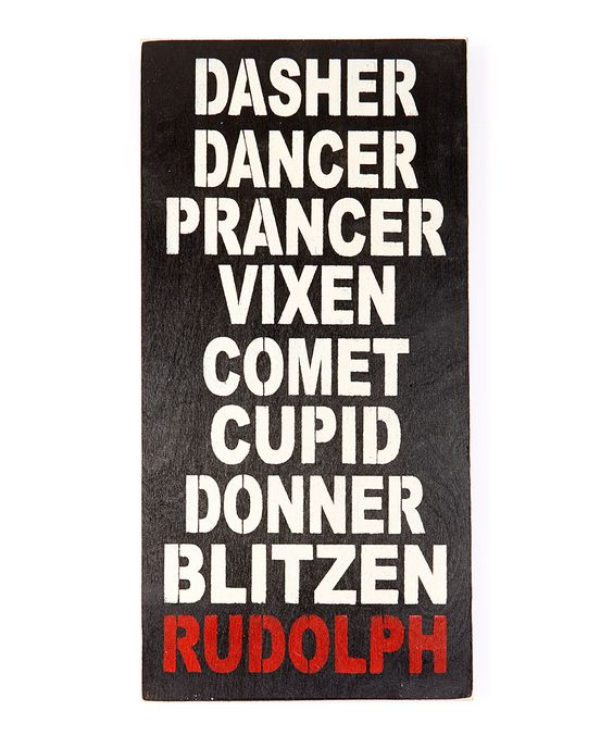 Reindeer Names Wall Sign