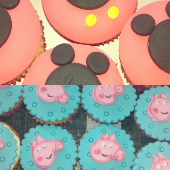 Peppa and mickey cupcakes