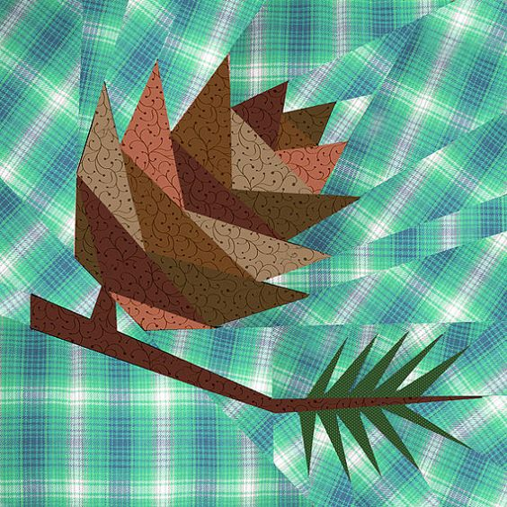 Pine Cone Paper Pieced Quilt Block Pattern Pdf By