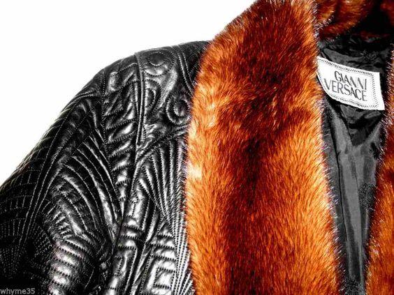 Gianne Versace Pre Death Runway Black Embroidered Leather Mink Jacket M / L #Versace #BasicJacket