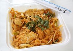 Chicken Pad Thai- Shove those takeout menus back in the drawer-  theirs is about 640 cal and 19 gr. fat per ser.  Ours is 285 for 2 1/2 cups with just 4 gr fat