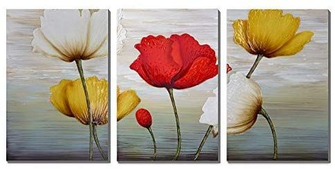 3hdeko Flower Picture Red White Yellow Blooming Tulip Oil Painting 3 Pieces Cubism Floral Canvas Wall Art Floral Art Canvas Painting Abstract Canvas Wall Art