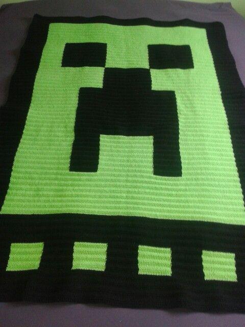 Minecraft Crochet Afghan Pattern Free : Crochet Creeper Minecraft blanket Crochet works ...
