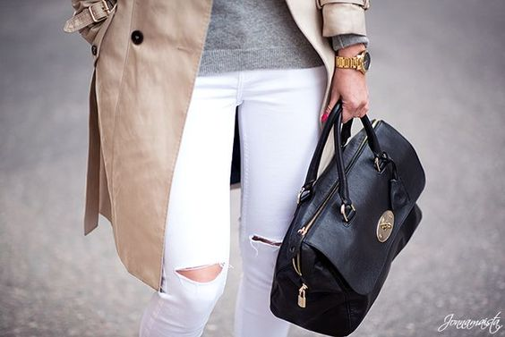 White jeans and grey knit