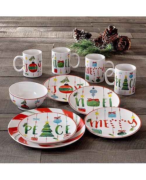 American Atelier Ornaments 16 Piece Dinnerware Set Dinnerware