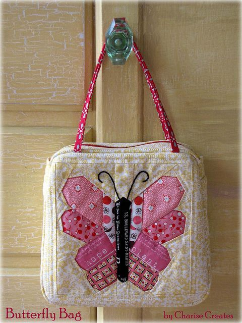 Butterfly pattern in my shop.  Tute for the bag will be on my blog soon  : ): Bolsos Quilting, Louisvuitton Handbags, Handmade Bags Totes, Craft Ideas, Handbags Bags, Sewing Bags, Littlebags Pouches