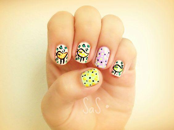 nails, birds