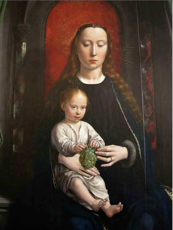 Gerard David 1460 c. – 1523 Pittore olandese., seguace di Hans Memling Polyptych of Cervara: center panel Madonna and Child Enthroned- 1506