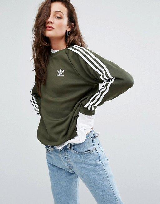adidas Originals Khaki 3 Streifen Boyfriend Sweatshirt