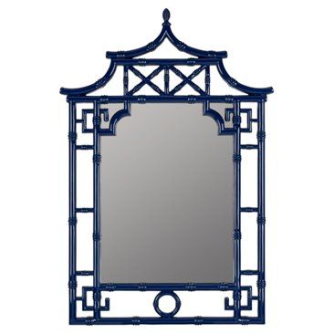 Check out this item at One Kings Lane! Chinoiserie Bamboo Mirror, Cobalt