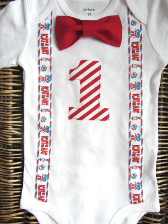 Dr Seuss Cat in the Hat Birthday Outfit Baby Bow Tie