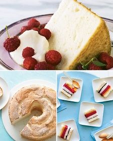 Angel food cake gets its name from the spongy lightness of the cake. That lightness can be attributed to egg whites that make up much of angel food cake's texture. While a glaze can be poured atop the angel food cake, it's not required; but it is a delicious addition.