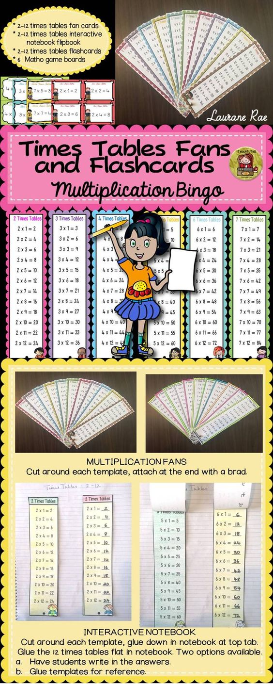 Multiplication times tables fans interactive notebook flashcards bingo number sense - Multiplication table interactive ...