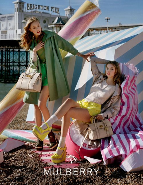 Mulberry girls Frida Gustavsson and Lindsey Wixson hit the Great British Seaside for the the spring 12 ad campaign.
