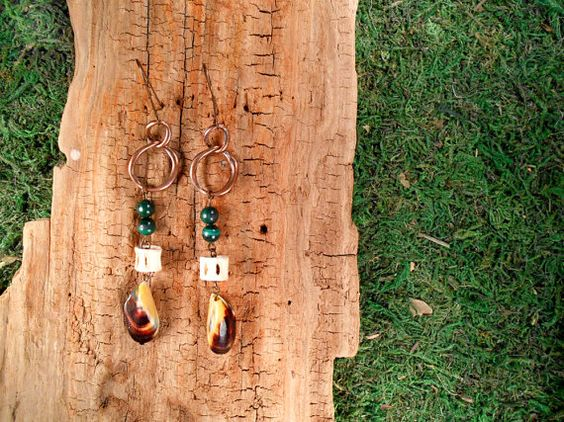 Copper Malachite Bone and Mussel Shell by mirabiliajewelry on Etsy