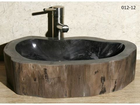 Large Brown Suede Petrified Wood Sink | Vessel Bath Sink | ArtisanCraftedHome.com