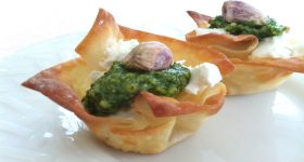 Easy Peasy.  Substitute the pistachio with a couple of toasted pine nuts.  Goat Cheese & Pesto Cups