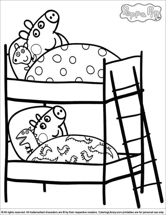 peppa pig coloring pages birthday balloon | Peppa And George On Their Beds - Peppa Pig Coloring ...