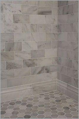 Best Tile For Shower Walls Ceramic Or Porcelain Awesome Large Gray And White Marble Subway Tile On S Cottage Bathroom Bathroom Remodel Master Bathroom Update