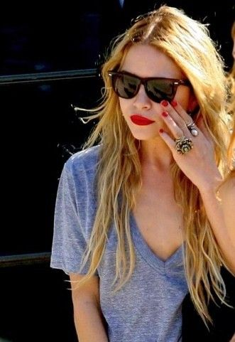 casual red lipstick and nails