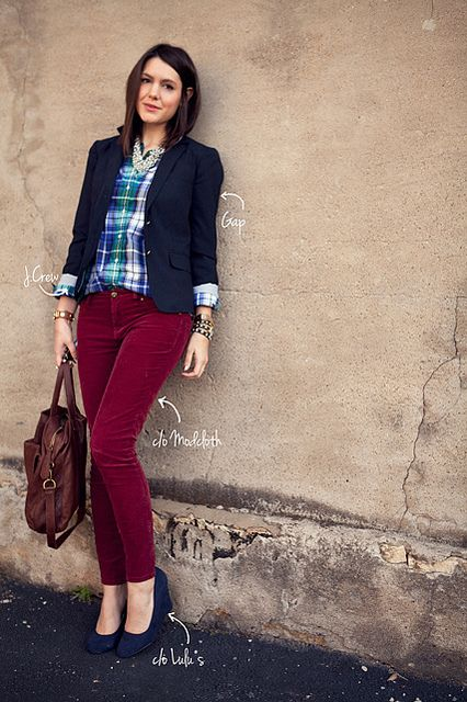 .: Colored Pants, Cranberry Cords, Burgandy Pants Outfits, Plad Shirt Outfits, Fall Outfits, Cords Blazer, Burgundy Cords, Burgundy Pants, Colored Jeans