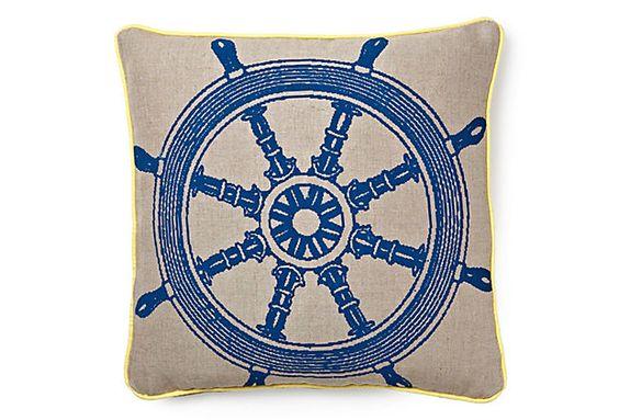 Nautical Boat Wheel Pillow