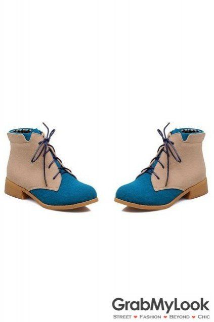 Suede Color Lace Up Rock Funky Military Ankle Flat Boots