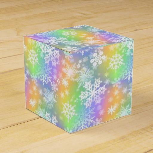 White Snowflakes w/Rainbow Color Favor Boxes