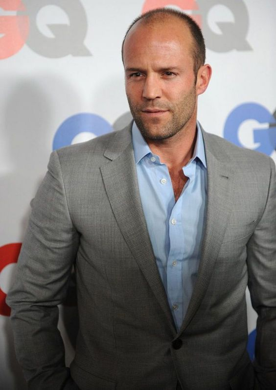 Jason Statham in Gray Suit & Light Blue Shirt | Classy Style