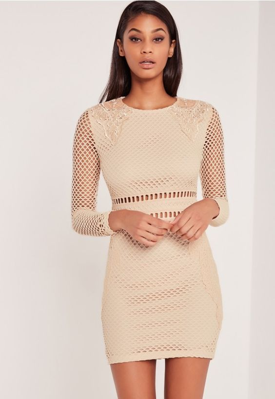 Carli Bybel Premium Lace Bodycon Dress Nude - Missguided