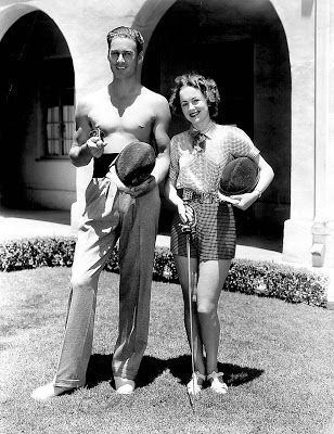 Errol Flynn and Olivia deHavilland do publicity for Captain Blood, 1935.
