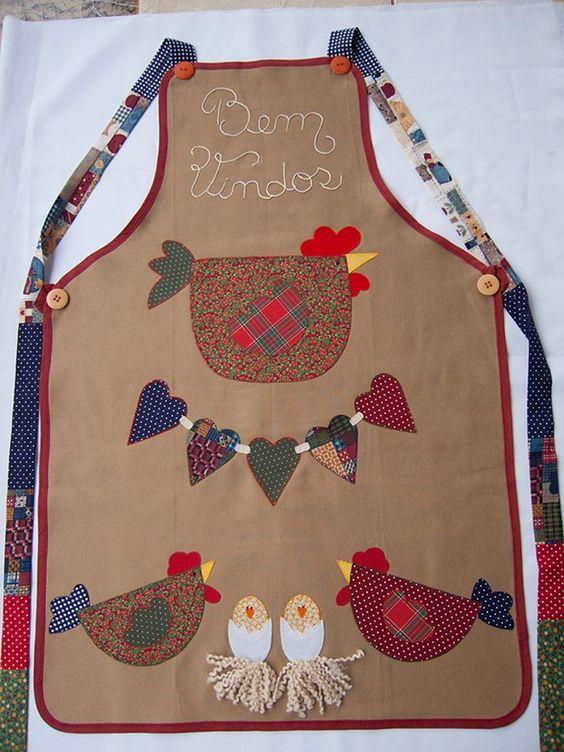 Lencer a de cocina patchwork o aplicaci n gallinitas - Patchwork para cocina ...