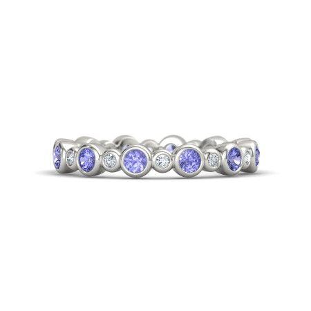 Tanzanite and diamonds bezel wedding band 14K White Gold Ring with Tanzanite