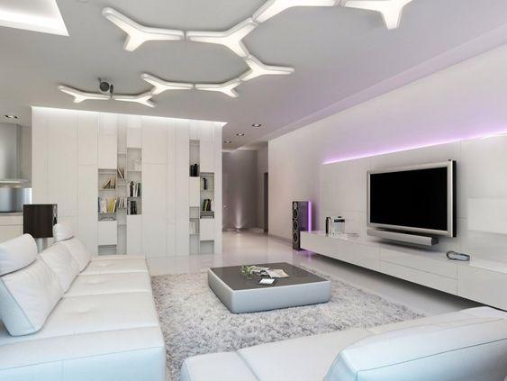 plafonniers de design ultra moderne dans le salon blanc avec un meuble tv dcor d - Salon Ultra Moderne