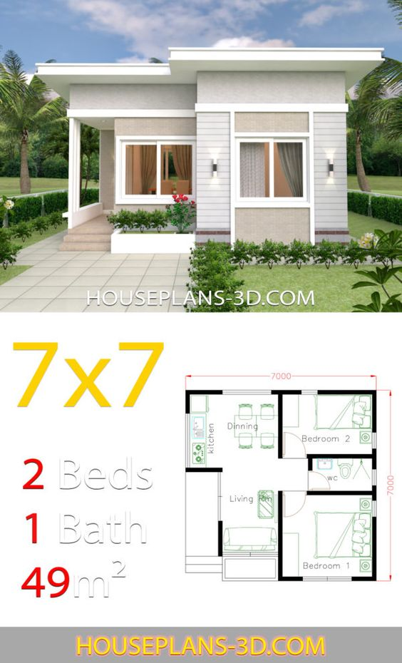 Small House Design Plans 7x7 with 2 Bedrooms - House Plans 3D