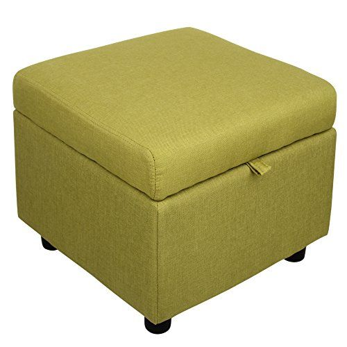 Fabric Square Flip Top Storage Ottoman Cube Foot Rest Green