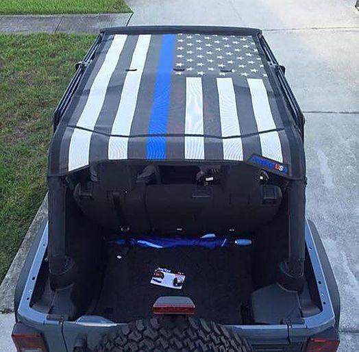 Wrangler Thin Blue Line Flag Sun Shade Top Jeep Wrangler Jeep Wrangler Accessories Jeep