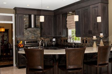 faux dark wood coloring and recessed lights are beautiful