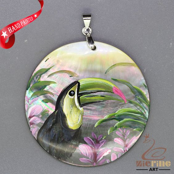 FASHION NECKLACE HAND PAINTED Toucan SHELL PENDANT  ZL304878 #ZL #Pendant